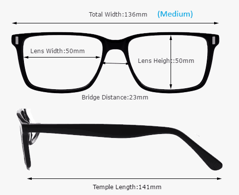 Eyeglass Measurements On Frame : Frame Size